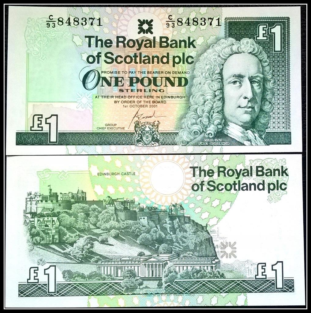 210. Banknot Szkocja 1 Funt 2001r. P-351e UNC
