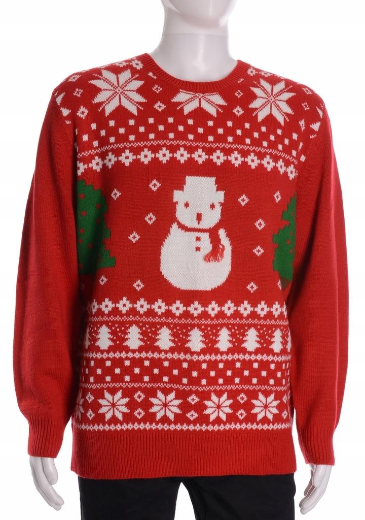 GEORGE świąteczny sweter męski z bałwankiem XL