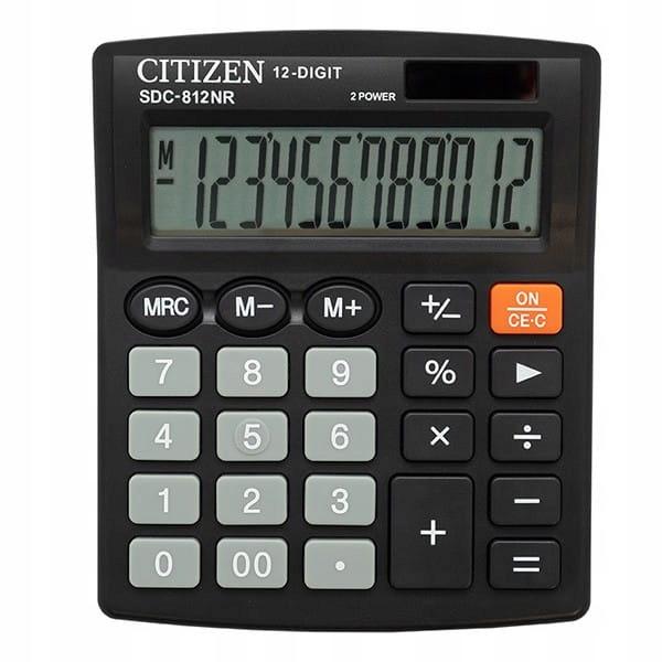 Citizen Kalkulator SDC812NR, czarna, biurkowy, 12