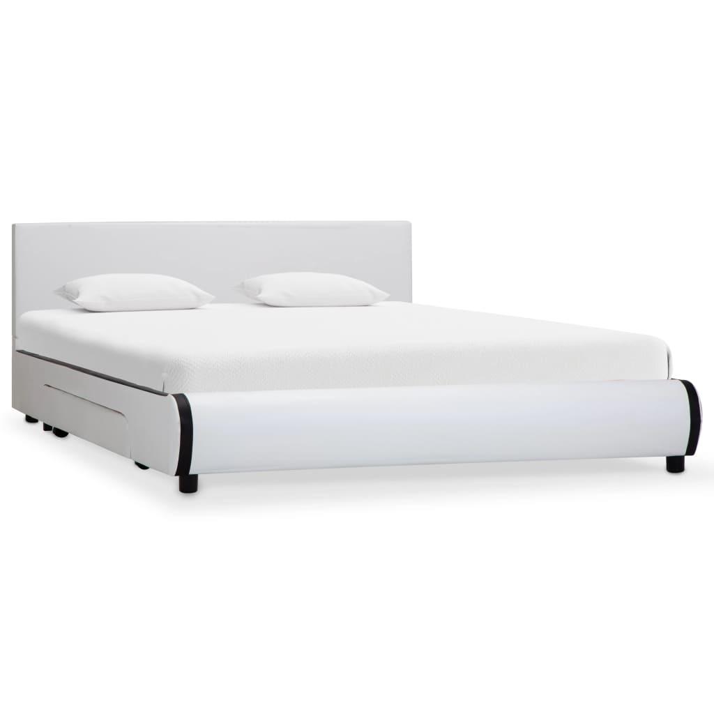 Rama łóżka z szufladami, biała, sztuczna skóra, 16