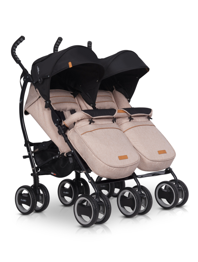 EASY GO Wózek dla bliżniąt DUO COMFORT SAND/LATTE