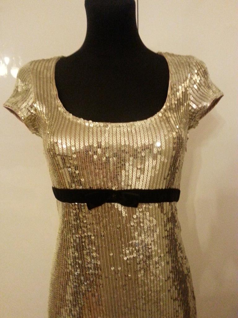 sylwester sukienka cekiny aksamit złota LIPSY ASOS