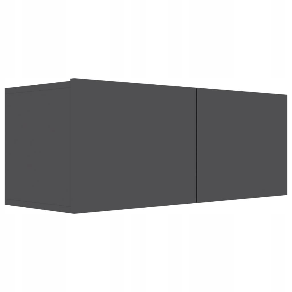 Szafka TV, wysoki połysk, szara, 80x30x30 cm, płyt
