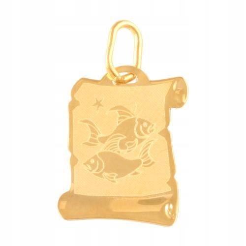 Złota przywieszka znak zodiaku ryby papirus 585