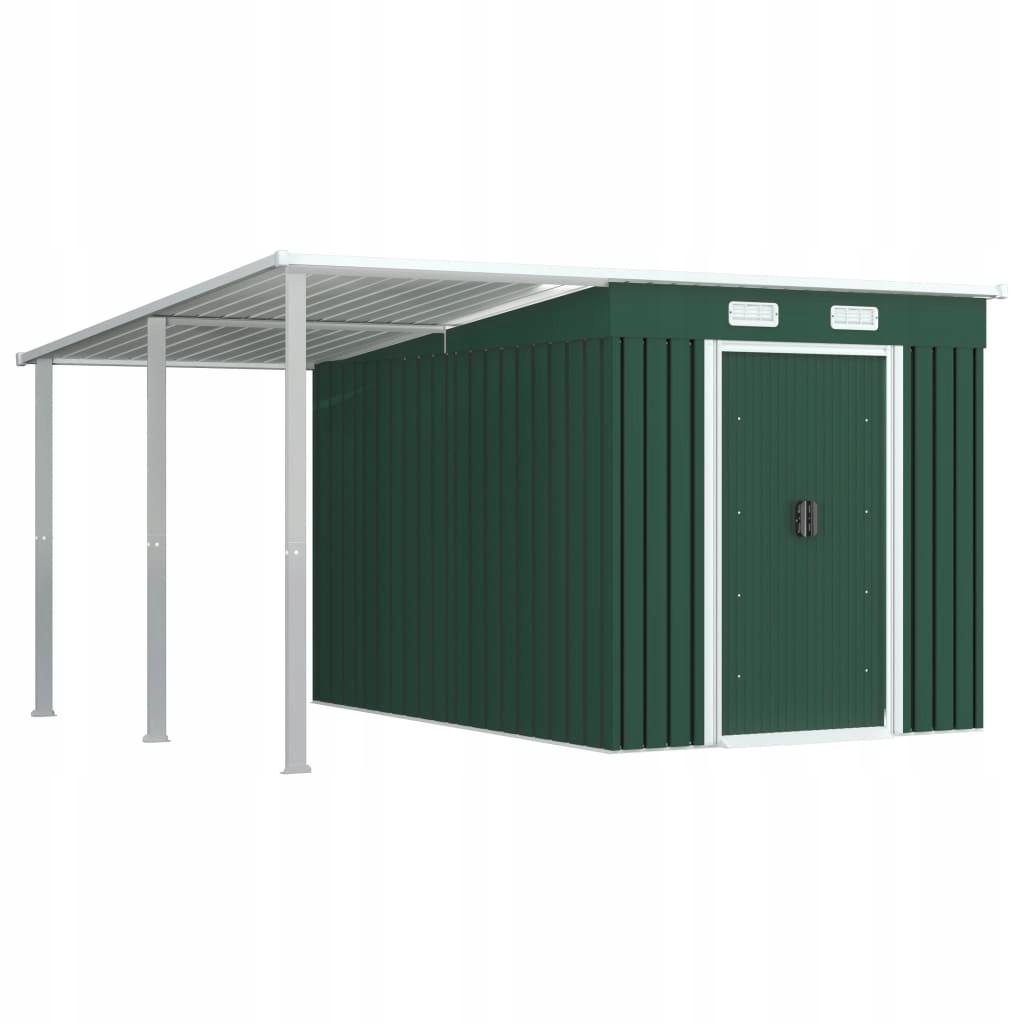 Szopa z przedłużonym dachem, zielona, 335x278x184