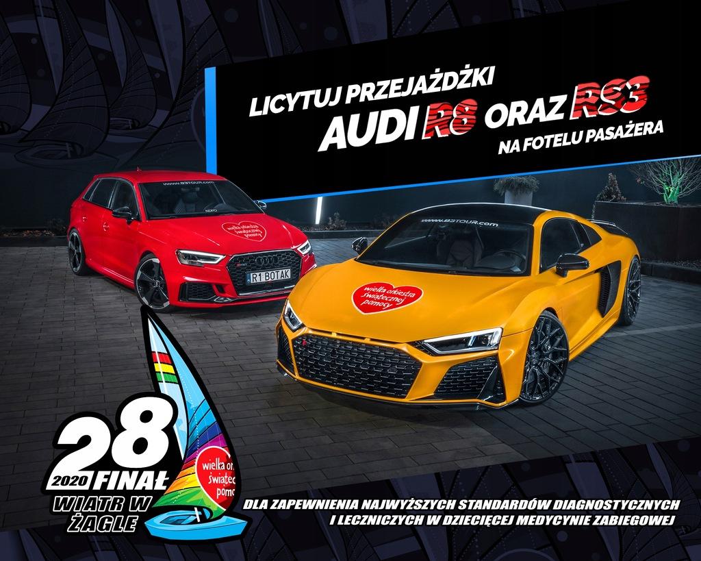 Voucher WOŚP na przejazd Audi R8 Plus lub Audi RS3