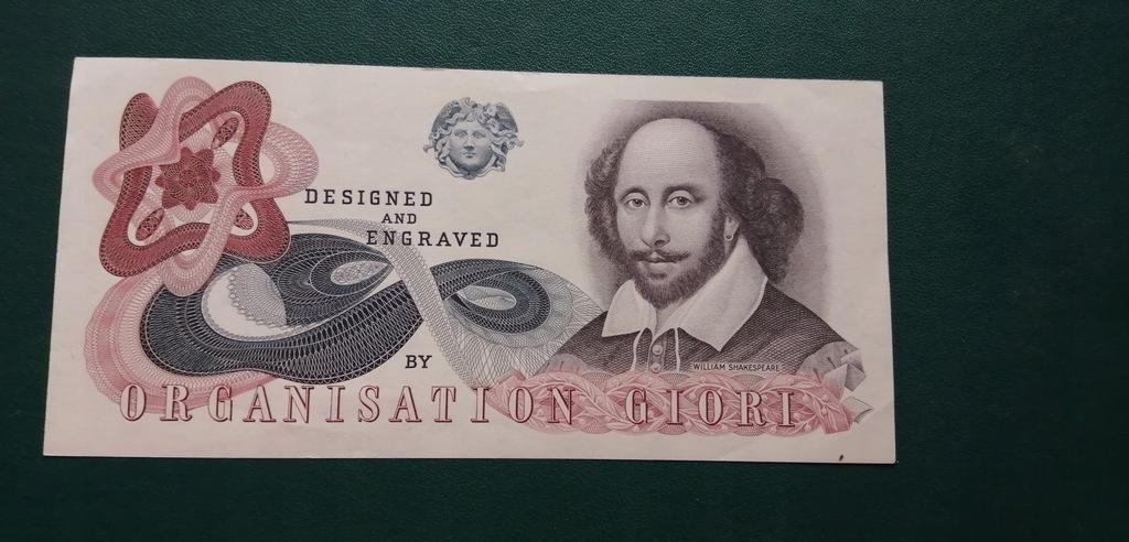Anglia Próbny testowy Banknot Szekspir Piękny
