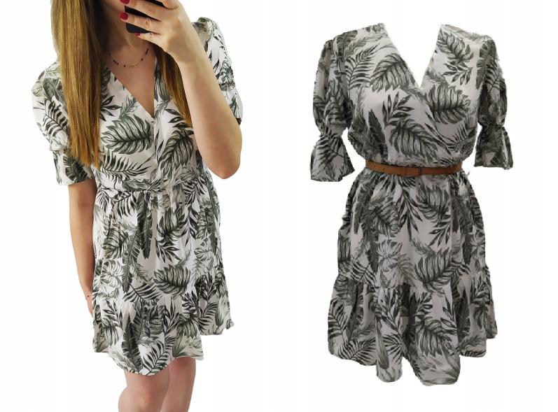Wiosenna sukienka kopertowa - palmy M