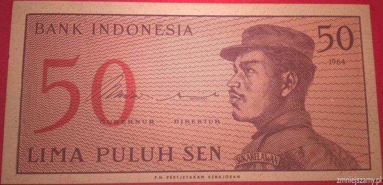 Indonezja - 50 sen  z bankowej paczki dla WOŚP