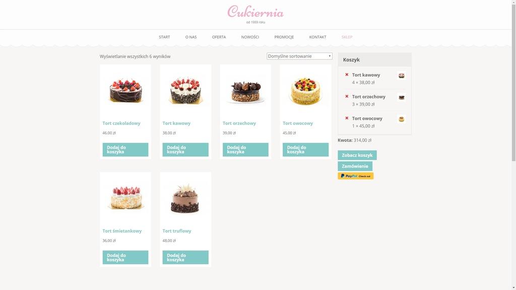 GOTOWA strona internetowa dla CUKIERNI + SKLEP !!!