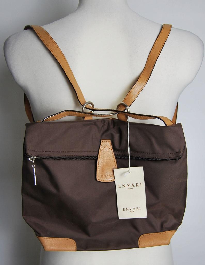 brązowy plecak torebka enzari Paris nowy