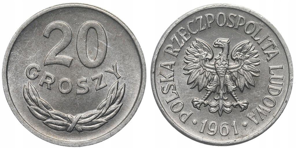 230.Polska - PRL - 20 groszy - 1961 - St.1- #A