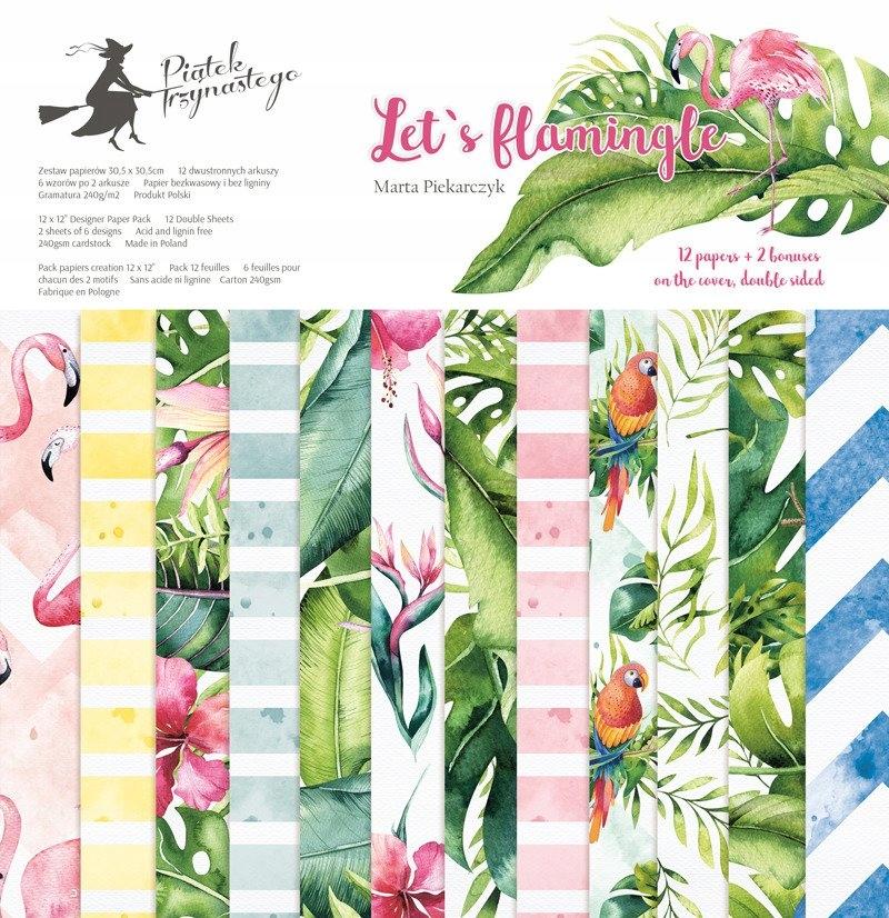 Zestaw papierów 30x30 - Let's flamingle