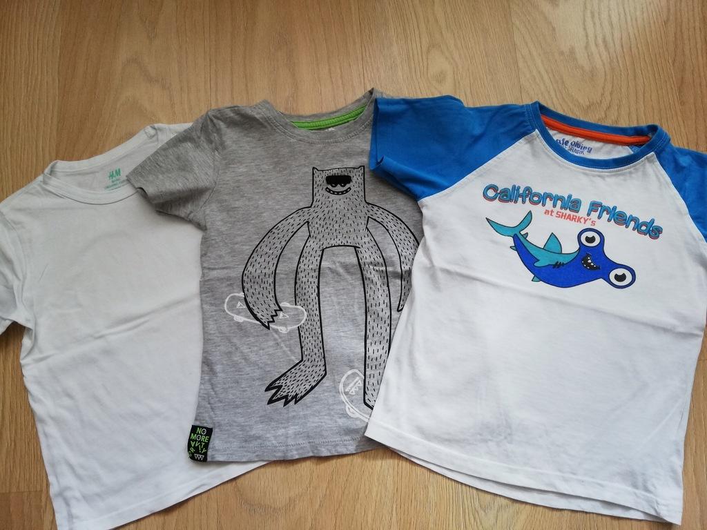 Zestaw 3 x t-shirt koszulka H&M 5.10.15 r. 110