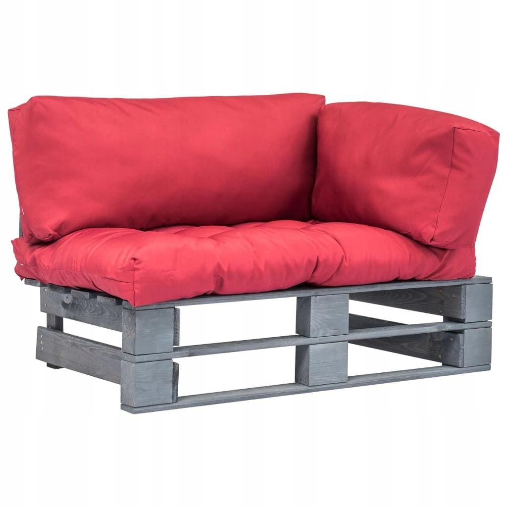 Sofa ogrodowa z palet z czerwonymi poduszkami, dr