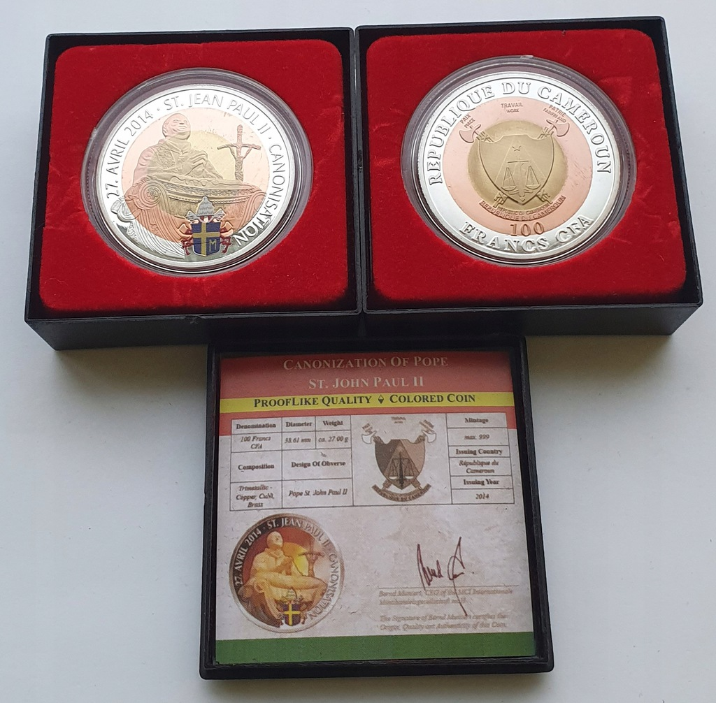 CAMEROUN 100 FRANCS TRICOLOR JAN PAWEŁ II/1-0012