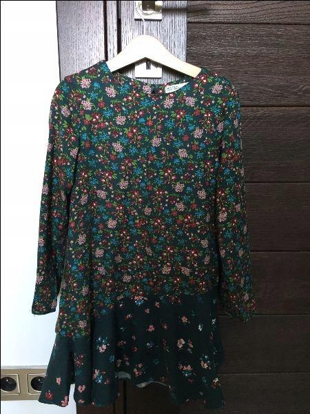 ZARA sukienka 122 jesień kwiatki śliczna