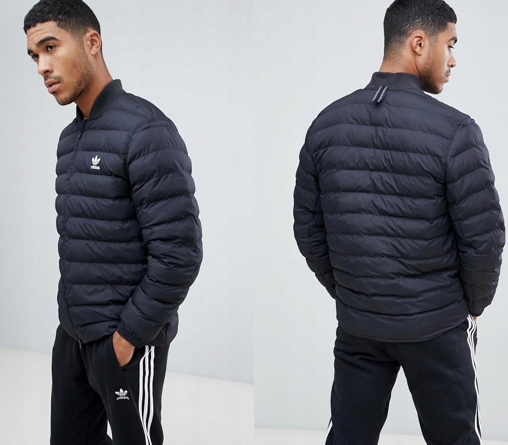 ADIDAS ORIGINALS Czarna pikowana kurtka logo (M)