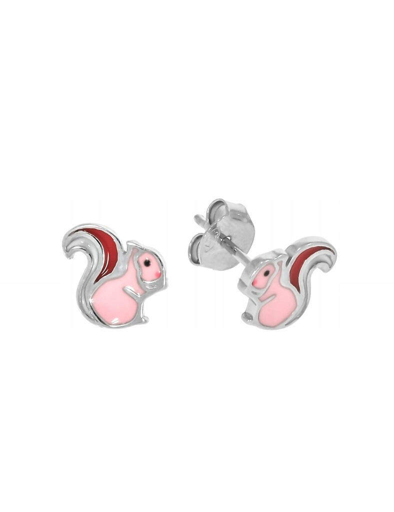 Srebrne dziecięce kolczyki różowe wiewiórki