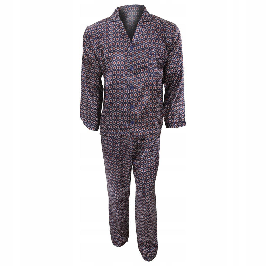 Tradycyjna męska satynowa piżama L Granatowy