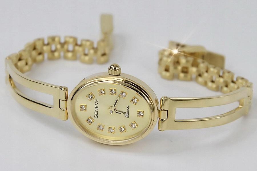 Złoty zegarek damski 14k żółte złoto Geneve Tanio!