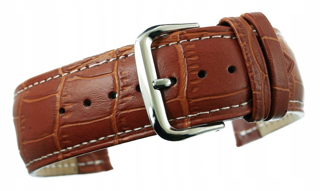 Pasek do zegarka - Skóra 24 mm 24K1 Brązowy biała
