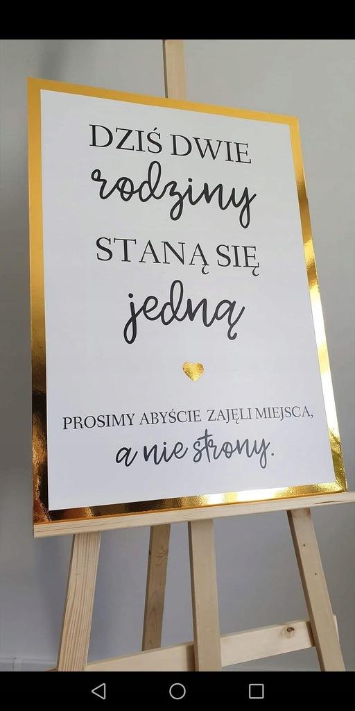 ZŁOTA SREBRNA plakat tablica powitalna ślub wesele