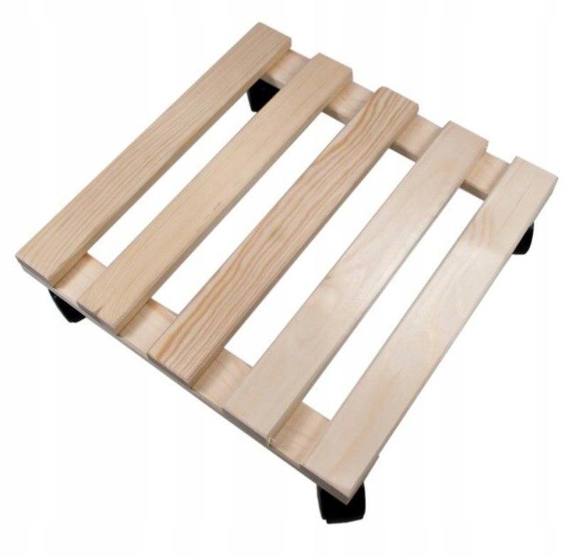 Podstawka donicę 35cm kółkach kwadratowa duża drew