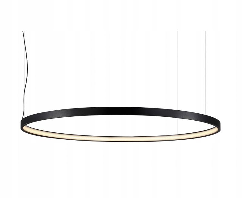 nowoczesna lampa wisząca ring led czarna slim koło