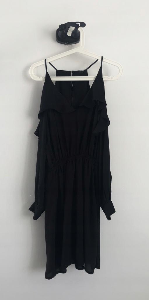 H&M sukienka z falbankami odkryte ramiona M L