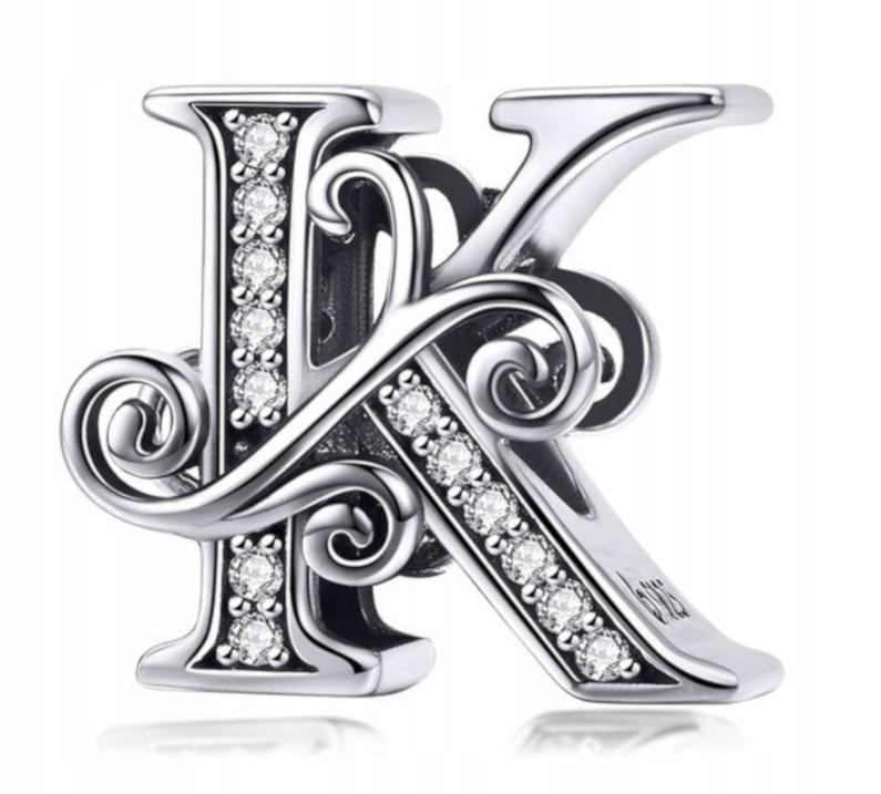 Zawieszka Charms Litera K do Pandora Srebro 925