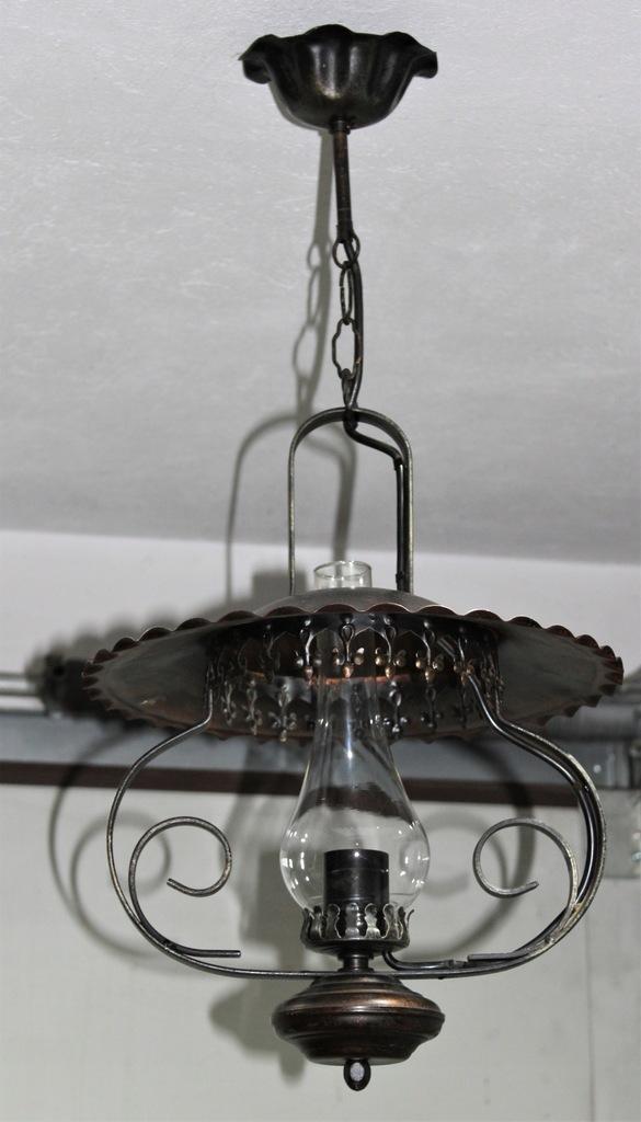 Lampa naftowa wisząca miedź, miedziana