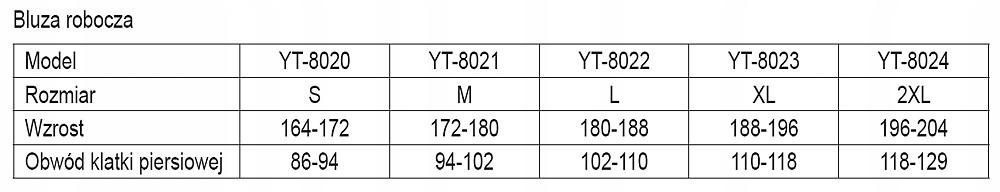 Bluza robocza, rozmiar s YT-8020 YATO