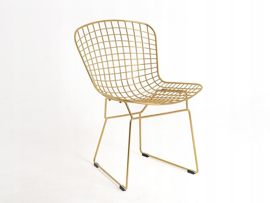 Krzesło WIR złote metalowe design druciane