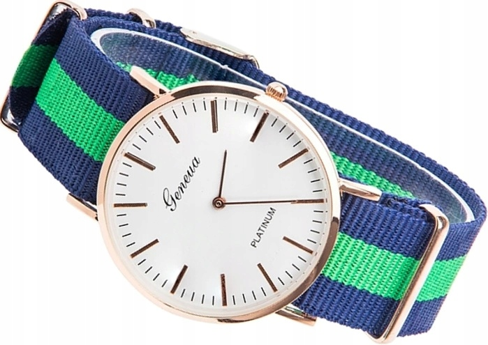 Zegarek Damski złoty nylonowy pasek Geneva ZK99