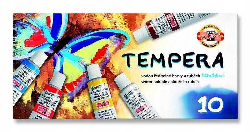 Farby Tempera 10 kolorów tempery rozpuszczalne