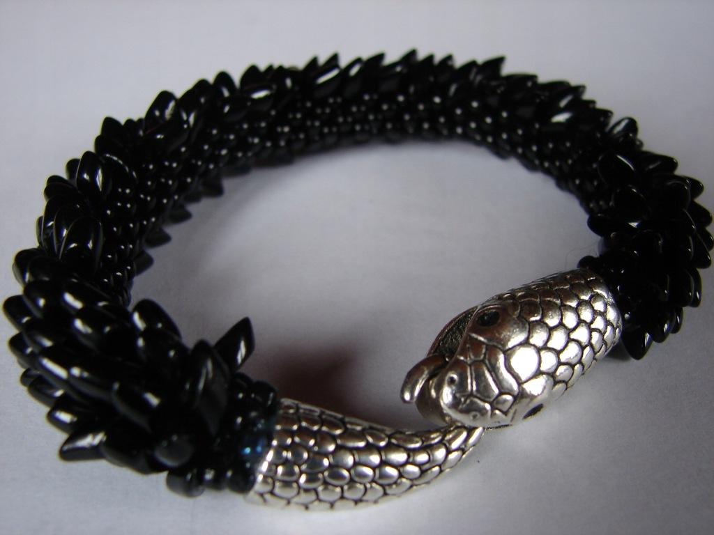 Bransoletka czarna z koralików Toho Long wąż