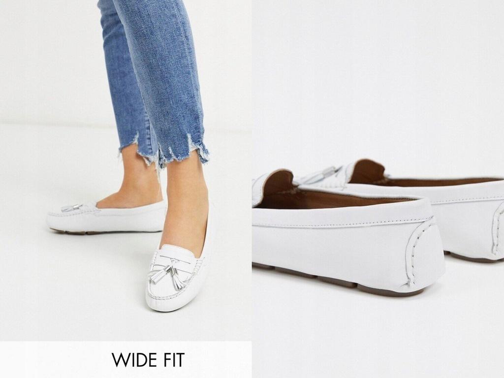 Dune Wide Fit Białe płaskie loafersy skóra 38