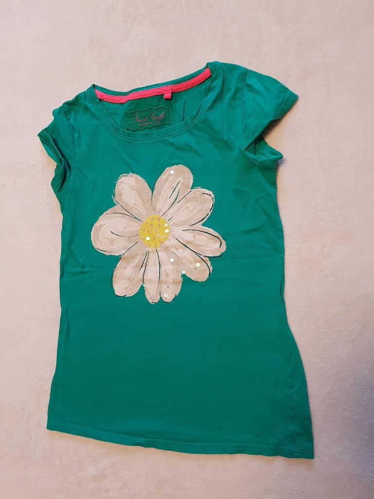 Zielona koszulka NEXT, kwiat, 11 lat, r. 146 cm