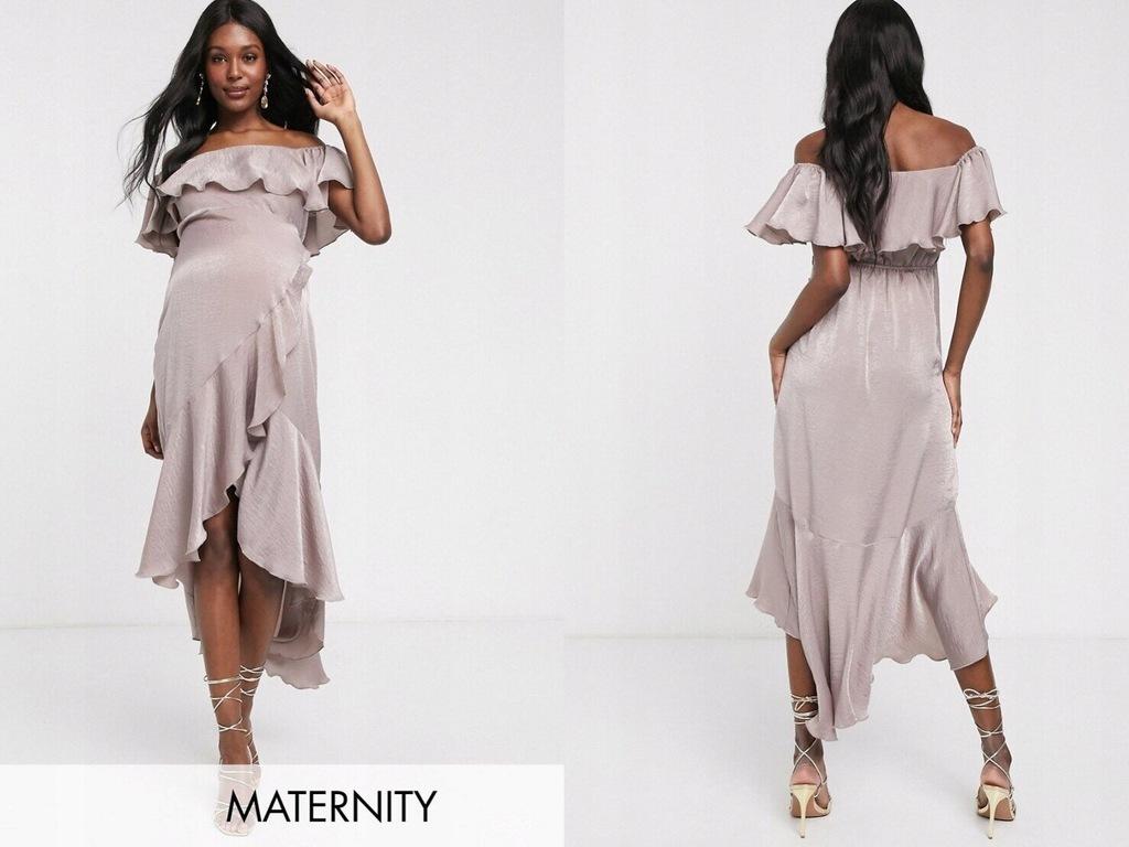 Blume Maternity Beżowa sukienka mini satynowa L