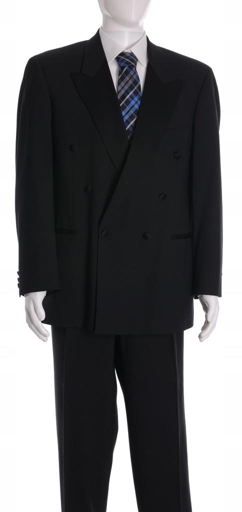 MARKS&SPENCER czarny dwurzędowy garnitur r. 54