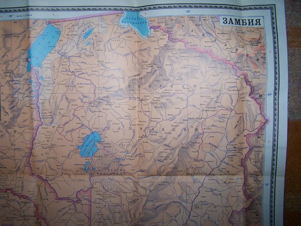 ZAMBIA - MAPA Z 1978 ROKU.