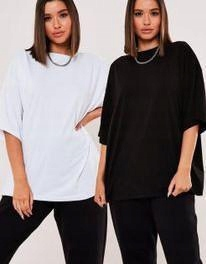 K3B202*MISSGUIDED T-SHIRT 2 PACK BIEL CZERŃ 38 S01