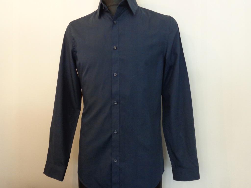 Granatowa koszula H&M Slim Easy Iron rozmiar S