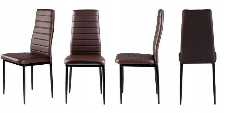 Zestaw czterech krzeseł z eko skóry jasny brąz