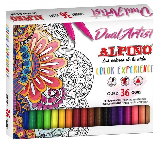 Flamastry artystyczne ALPINO dwustronne 36 kolory - 7130275297 - oficjalne  archiwum Allegro