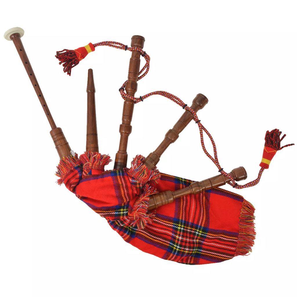 vidaXL Dudy szkockie dla dzieci w czerwoną kratę
