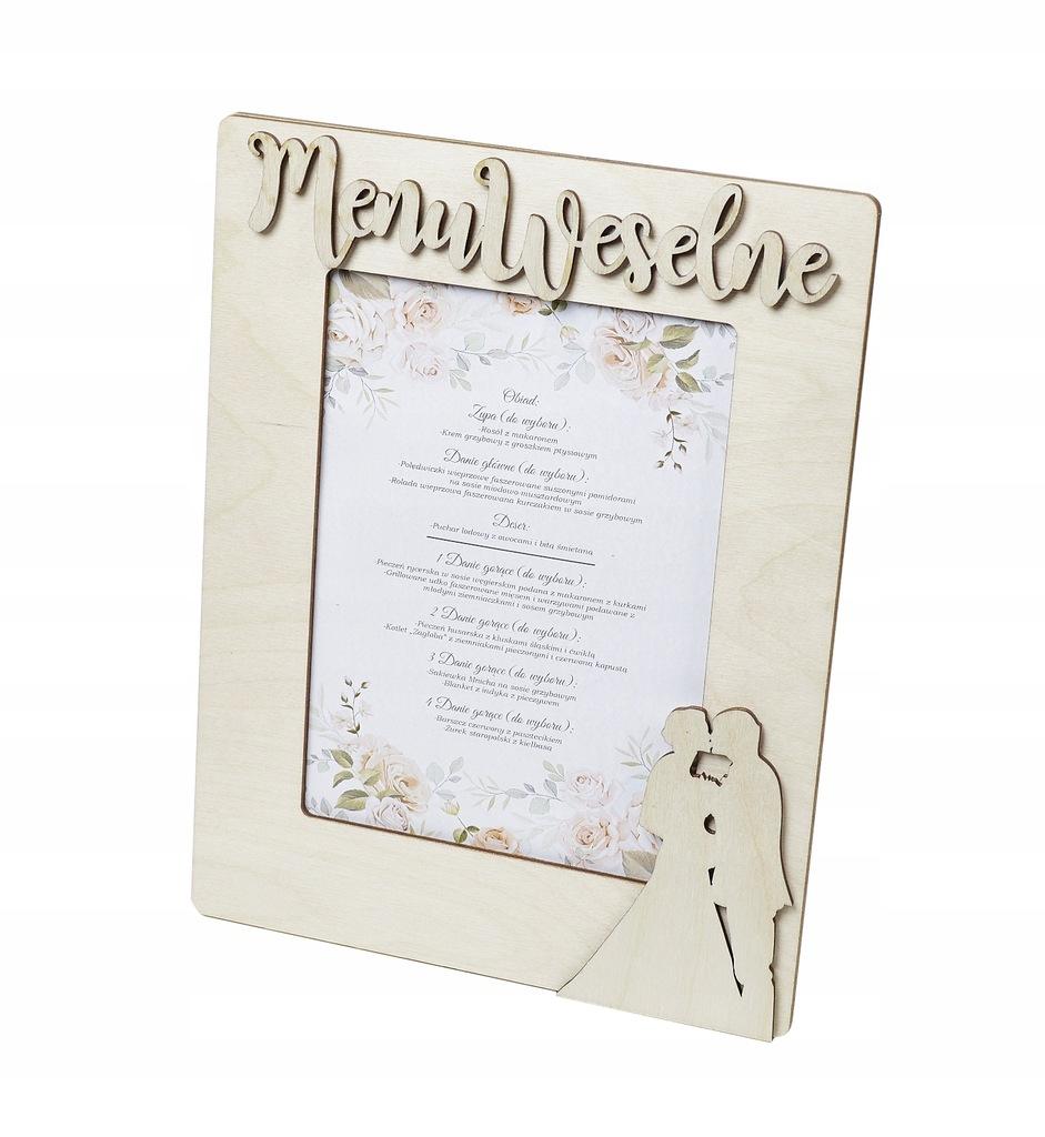Menu weselne karta dań na stół drewniane