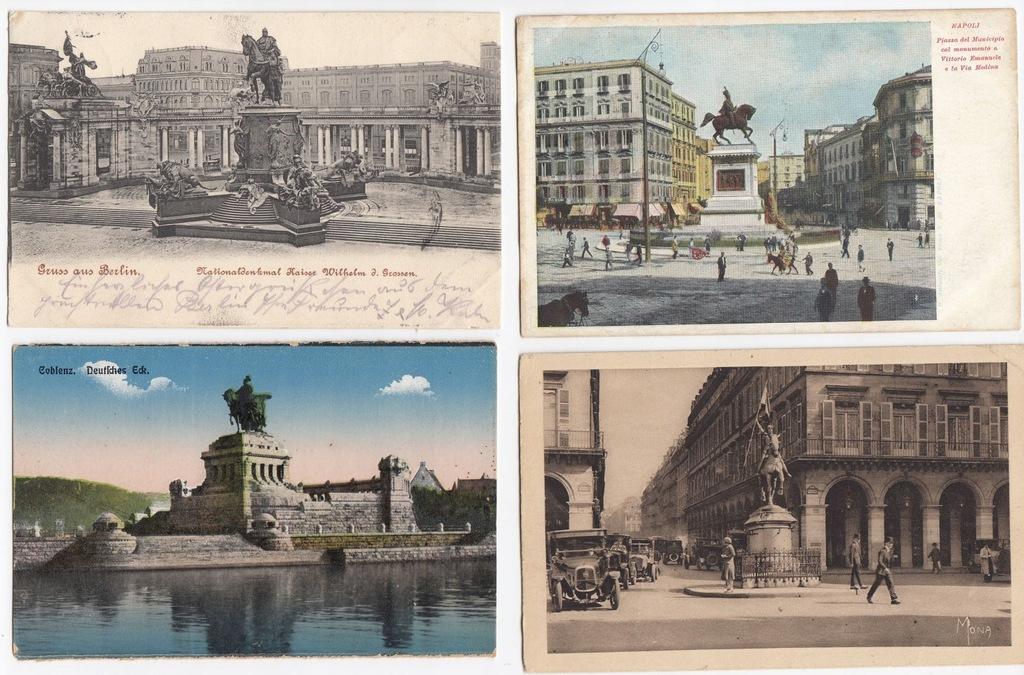 Stare pocztówki POMNIK KONNY (4 szt.) 4J11
