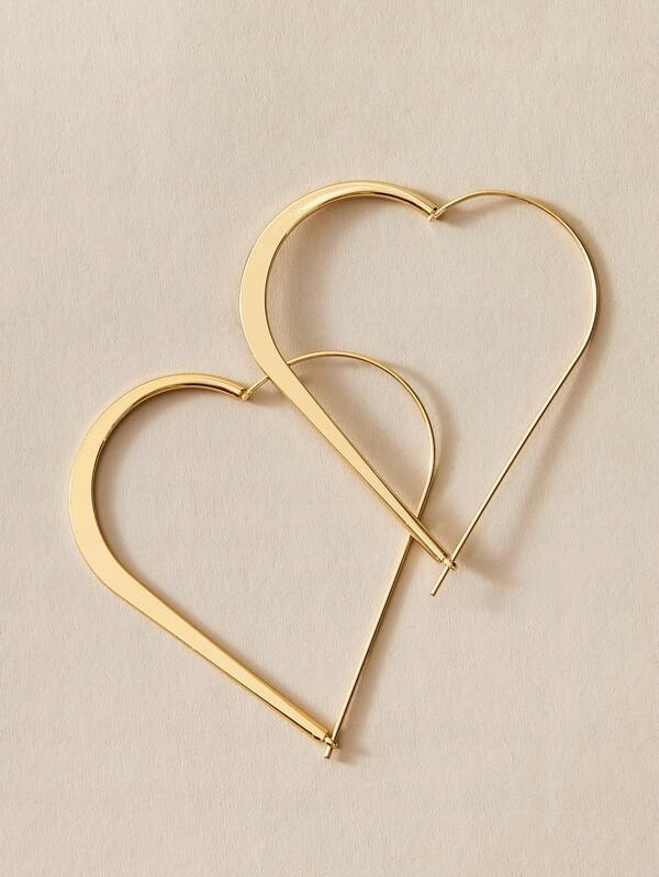 Kolczyki duże złote wiszące serca ażurowe